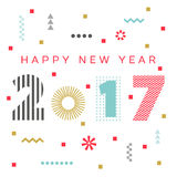 Happy New Year 2017 background. Calendar template.  Greeting card. Vector illustration Royalty Free Stock Photo