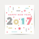 Happy New Year 2017 background. Calendar template.  Greeting card. Vector illustration Stock Images