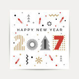 Happy New Year 2017 background. Calendar template.  Greeting card. Vector illustration Stock Image