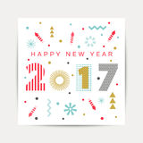 Happy New Year 2017 background. Calendar template.  Greeting card. Vector illustration Stock Photos
