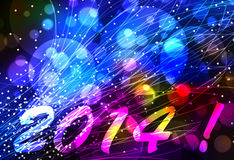 Happy new year 2014 background. Happy new year 2014 card or background with light effects in blue, pink and yellow Royalty Free Stock Images