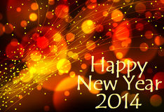 Happy new year 2014 background. Happy new year 2014 card or background with light effects in yellow, orange and red Stock Illustration