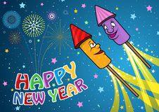 Happy New Year Background with Cartoon Rockets stock illustration