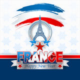Happy New Year background celebration for France. Happy New Year background with blue, white, red stars and grunge brush trails colored in national flag colors Royalty Free Stock Photos