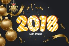 Happy new year 2018 background with christmas ball and confetti gold.  Royalty Free Stock Photos