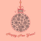 Happy new year background. Christmas ball of snowflakes. Vintage delicate colors. Vector illustration Royalty Free Stock Photography