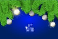 Happy New Year background with christmas balls and lights. Stock vector vector illustration