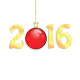 Happy new year background with Christmas bauble. New Year 2016 Royalty Free Stock Photo