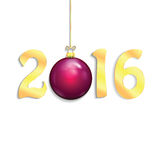 Happy new year background with Christmas bauble. New Year 2016 Royalty Free Illustration