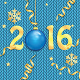 Happy new year background with Christmas bauble. The poster for the New Year with gold numbers and Christmas decorations on the knitted background.Happy new year vector illustration