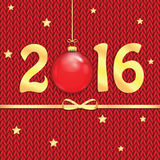 Happy new year background with Christmas bauble. The poster for the New Year with gold numbers and Christmas decorations on the knitted background.Happy new year royalty free illustration
