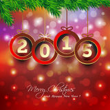 Happy new year 2015 background with Christmas baub Stock Photography
