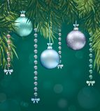 Happy new year background with Christmas bauble. Vector royalty free illustration