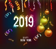 Happy new year 2019 background with christmas confetti gold and black colors lace for text.  stock illustration