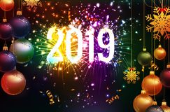 Happy new year 2019 background with christmas confetti gold and fireworks.  royalty free illustration
