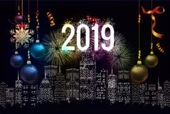 Happy new year 2019 background with christmas confetti gold and fireworks.  vector illustration