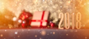 Happy new year 2018 background with christmas decoration. View of a Happy new year 2018 background with christmas decoration Royalty Free Stock Images