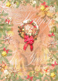 Happy New Year background. Christmas decorations, toys, stars, pine branches, wreath with red bow, angels and fairies. Royalty Free Stock Photography