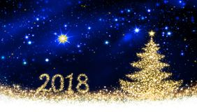 Happy New 2018 Year background with Christmas tree. Happy New 2018 Year with shining Christmas tree and star sky Stock Photo
