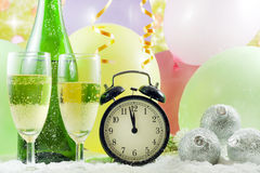 Happy new year background and clock royalty free stock photography