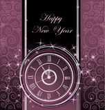 Happy New Year background. With clock Stock Photography
