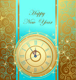 Happy New Year background. With clock vector illustration