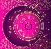Happy New Year background. With clock Stock Images