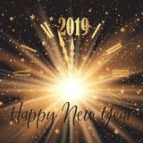 Happy New Year background with clock face and firework effect stock image