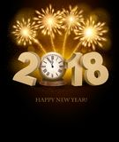 Happy New Year background with 2018, a clock and fireworks. Vect. Or Royalty Free Stock Photos