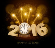 Happy New Year background with 2016. A clock and fireworks. Vector Royalty Free Stock Photography