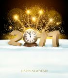 Happy New Year background with 2017, a clock and fireworks. Vector Royalty Free Stock Images