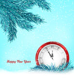 Happy New Year Background with Clock. Illustration Happy New Year Background with Clock And Blue Fir Twigs - Vector Stock Photo