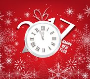 Happy new year 2017 background with clock and snowflakes Royalty Free Stock Image