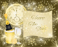 Happy New Year background with clock vector Stock Image