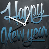 Happy New Year background with clock. Vector illustration Stock Image