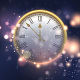 Happy New Year background with clock. Vector illustration. EPS10 Royalty Free Stock Photos