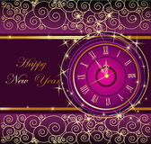 Happy New Year background with clock. Violet and gold Royalty Free Stock Photo