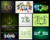 2016 Happy New Year Background Collection. For your Christmas Flyers, dinner invitations, festive posters, restaurant menu cover, book cover,promotional Royalty Free Stock Images