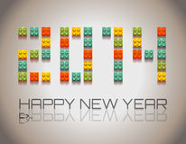 2014 Happy New Year background. With  coloful plastic blocks with shadows Royalty Free Stock Photo