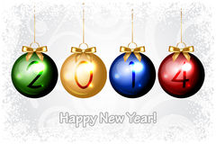 2014 Happy New Year background with colorful chris Stock Image