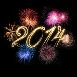 Happy New Year 2014. Background with colorful fireworks Royalty Free Stock Image