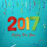 Happy New Year 2017 background. Colorful, hand drawn paper typeface on celebration backdrop. Greeting card template. Vector illustration Stock Image