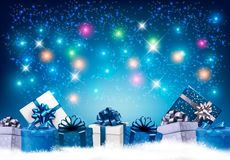 Happy New Year background with colorful presents and fireworks. Stock Images