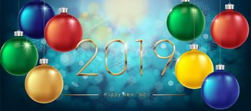 Happy New Year 2019 Background. New Year Colorful Winter banner with gold text and shiny balls. Sparkling glitter bauble. Vector illustration EPS 10 vector illustration