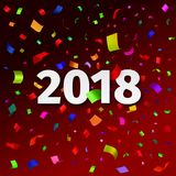 Happy New Year 2018 background with confetti. Happy New Year 2018 background. Vector illustration. Template for the design of the greeting card with tinsel Royalty Free Stock Photos