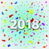 Happy New Year 2018 background with confetti. Happy New Year 2018 background. Vector illustration. Template for the design of the greeting card with tinsel Royalty Free Stock Photo