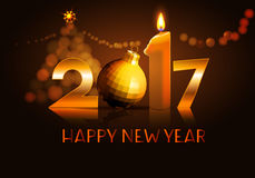 Happy new year 2017 background. Data 2017 with candle, ball on reflection background and christmas lights Royalty Free Stock Photos