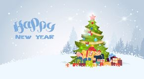 Happy New Year Background With Decorated Christmas Tree Over Snowy Winter Forest View. Flat Vector Illustration royalty free illustration