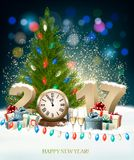Happy New Year 2017 background with decorations. Vector Royalty Free Stock Images