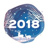 2018 Happy New Year Background. Deer couple in forest. Wild nature. Greetings Card for Christmas invitations. Paper cut. Snow flake. Circle frame. Text. Origami Royalty Free Stock Photo